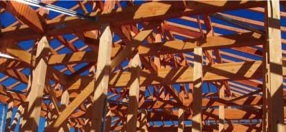岐阜イタヤホームの注文住宅に採用している木造枠組工法の写真