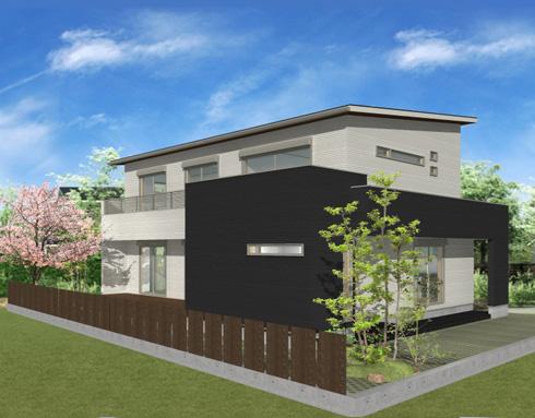注文住宅ご提案プラン例1 外観イメージパース。右斜め前からのイメージ画像
