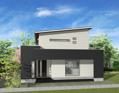 注文住宅ご提案プラン例1 外観イメージパース。左側面からのイメージ画像。