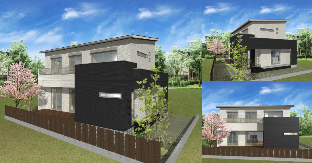 注文住宅ご提案プラン例1 外観イメージパース1。パソコン表示用