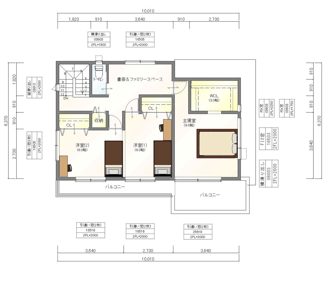 注文住宅ご提案プラン例1 2階間取り図(平面図)