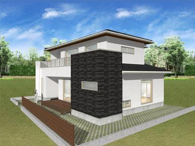 注文住宅ご提案プラン例2 外観イメージパース1。スマートフォン表示用3
