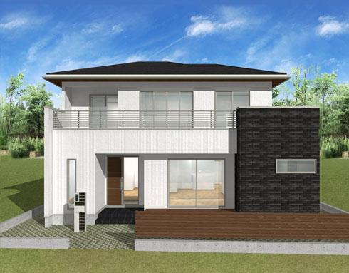 注文住宅ご提案プラン例2 外観イメージパース。建物正面からのイメージ画像