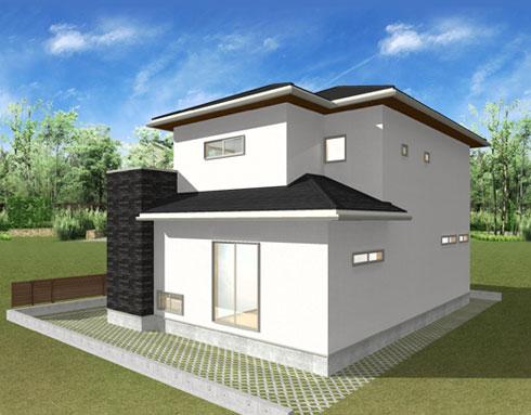 注文住宅ご提案プラン例2 外観イメージパース。左斜め前からのイメージ画像。