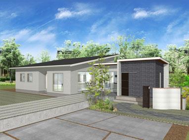 注文住宅ご提案プラン例3『平屋建て』 外観イメージパース1。スマートフォン表示用2