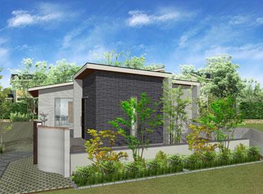 注文住宅ご提案プラン例3『平屋建て』 外観イメージパース1。スマートフォン表示用3