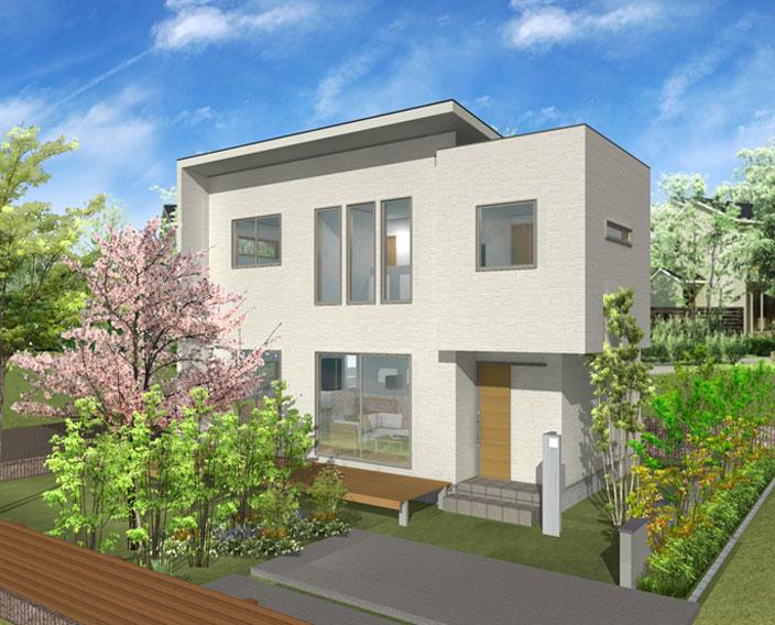 注文住宅ご提案プラン例4 外観イメージパース1。スマートフォン表示用1