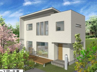 注文住宅ご提案プラン例4 外観イメージパース1。スマートフォン表示用2