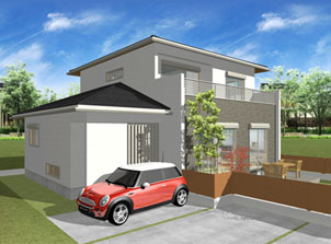 注文住宅ご提案プラン例5 外観イメージパース1。スマートフォン表示用2