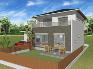 注文住宅ご提案プラン例5 外観イメージパース1。スマートフォン表示用3