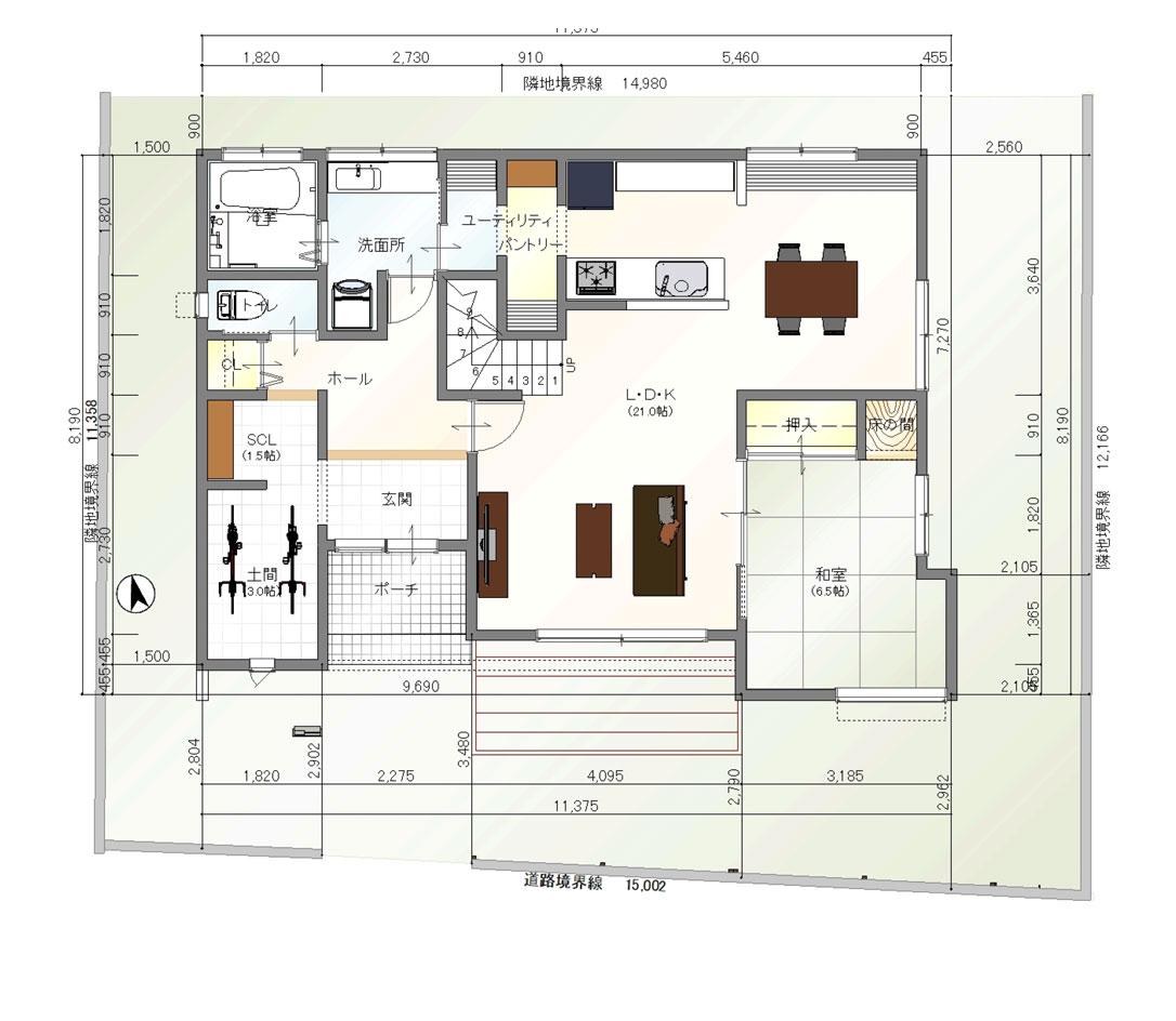 注文住宅ご提案プラン例2 1階間取り図(平面図)