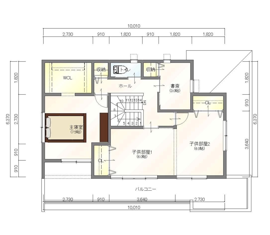 注文住宅ご提案プラン例2 2階間取り図(平面図)