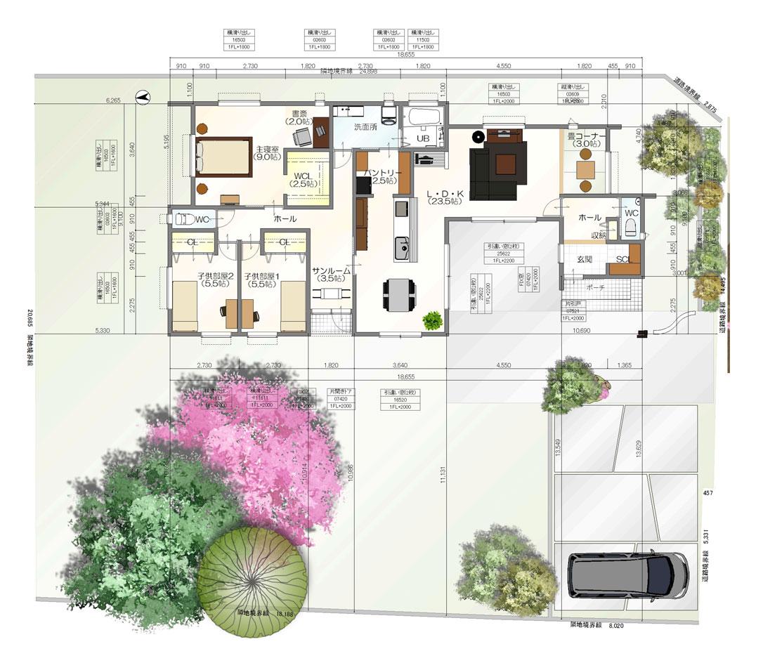 注文住宅ご提案プラン例3『平屋建て』 間取り図(平面図)