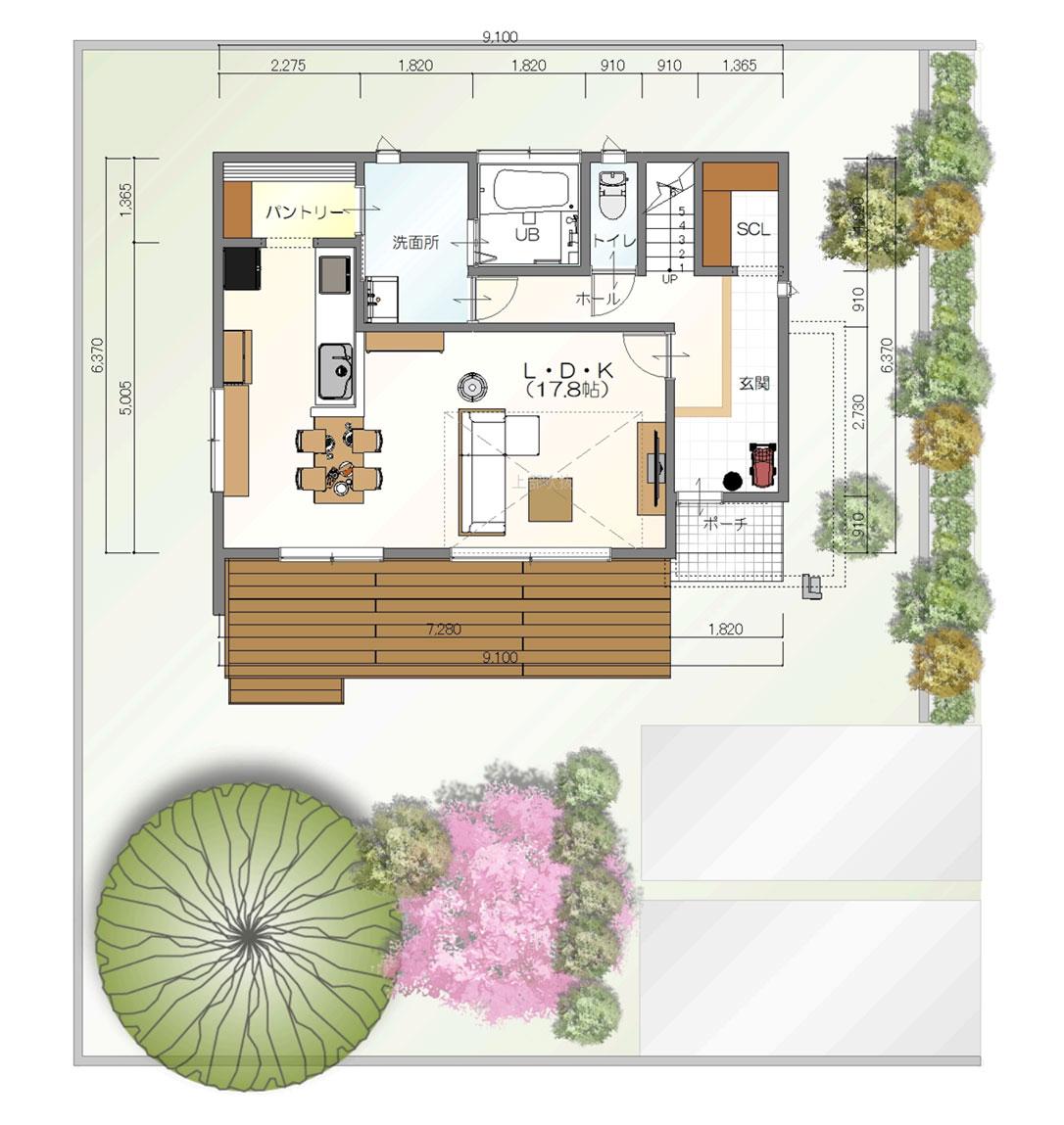 注文住宅ご提案プラン例4 1階間取り図(平面図)
