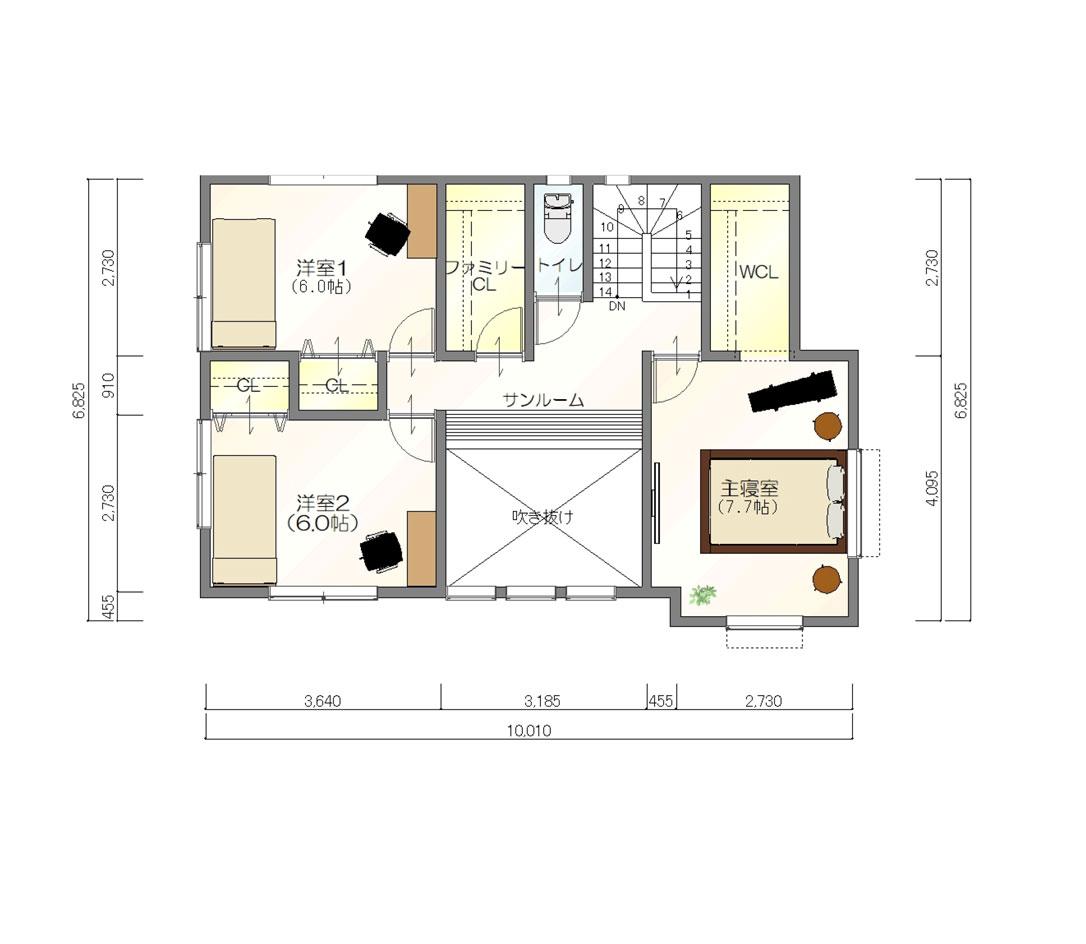 注文住宅ご提案プラン例4 2階間取り図(平面図)