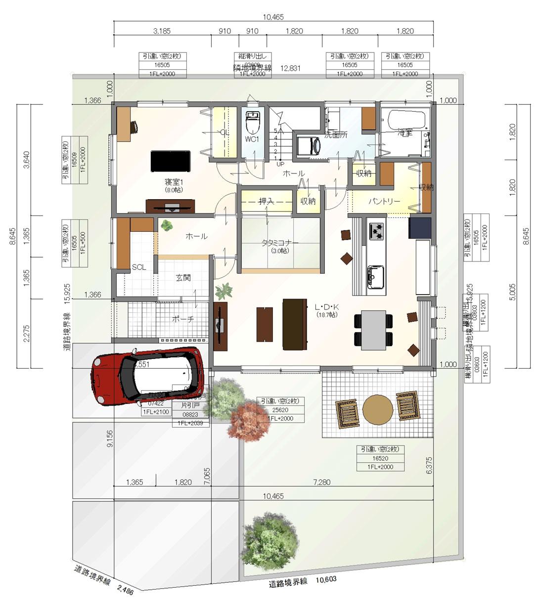 注文住宅ご提案プラン例5 1階間取り図(平面図)