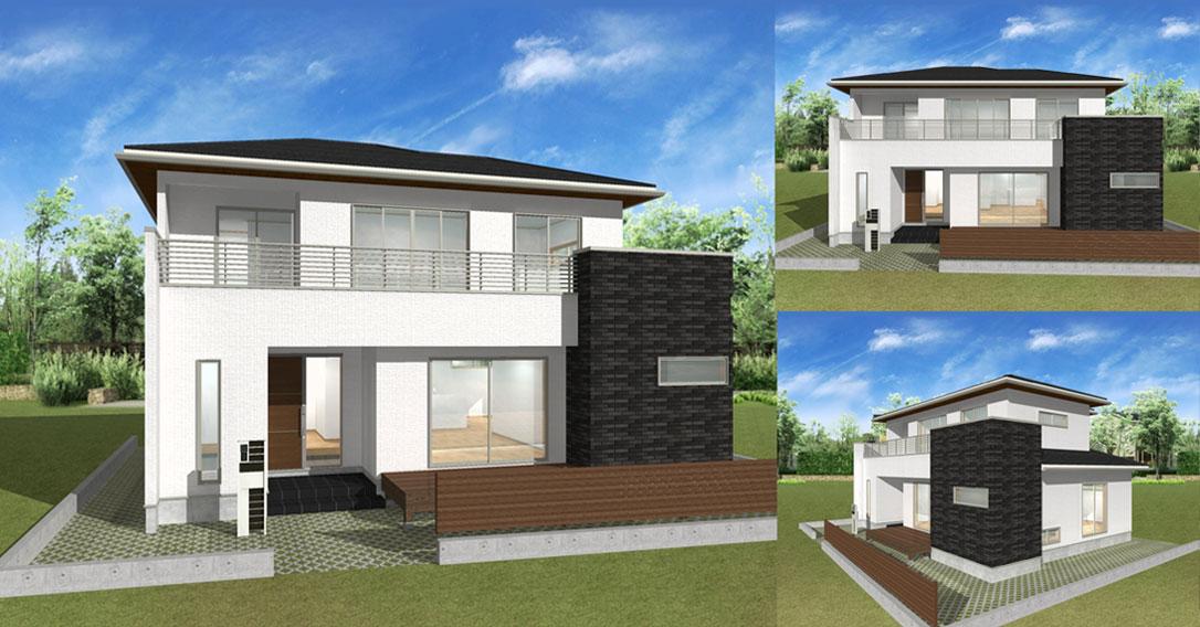 注文住宅ご提案プラン例2 外観イメージパース1。パソコン表示用
