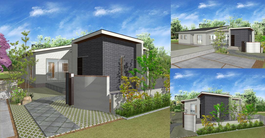 注文住宅ご提案プラン例3『平屋建て』 外観イメージパース1。パソコン表示用