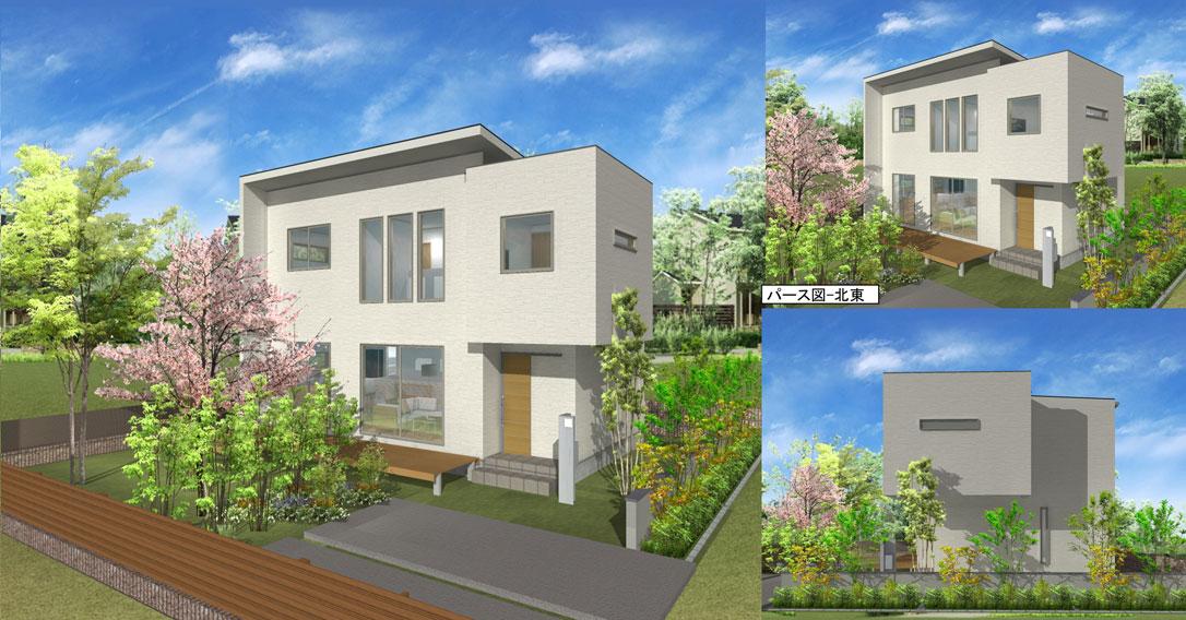 注文住宅ご提案プラン例4 外観イメージパース1。パソコン表示用