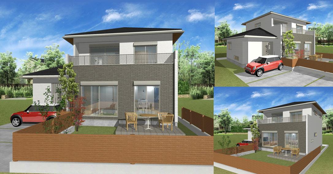 注文住宅ご提案プラン例5 外観イメージパース1。パソコン表示用
