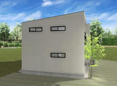 注文住宅ご提案プラン例6 外観イメージパース。建物の左側面イメージ画像。