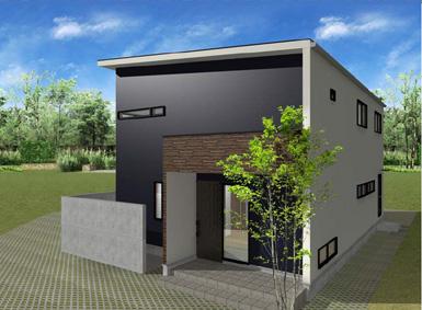 注文住宅ご提案プラン例6 外観イメージパース。建物の右側面イメージ画像。