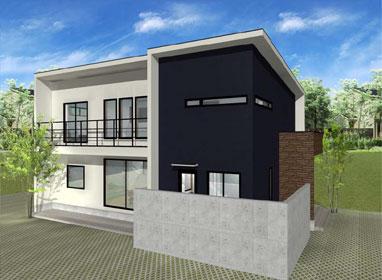 注文住宅ご提案プラン例6 外観イメージパース1。スマートフォン表示用2