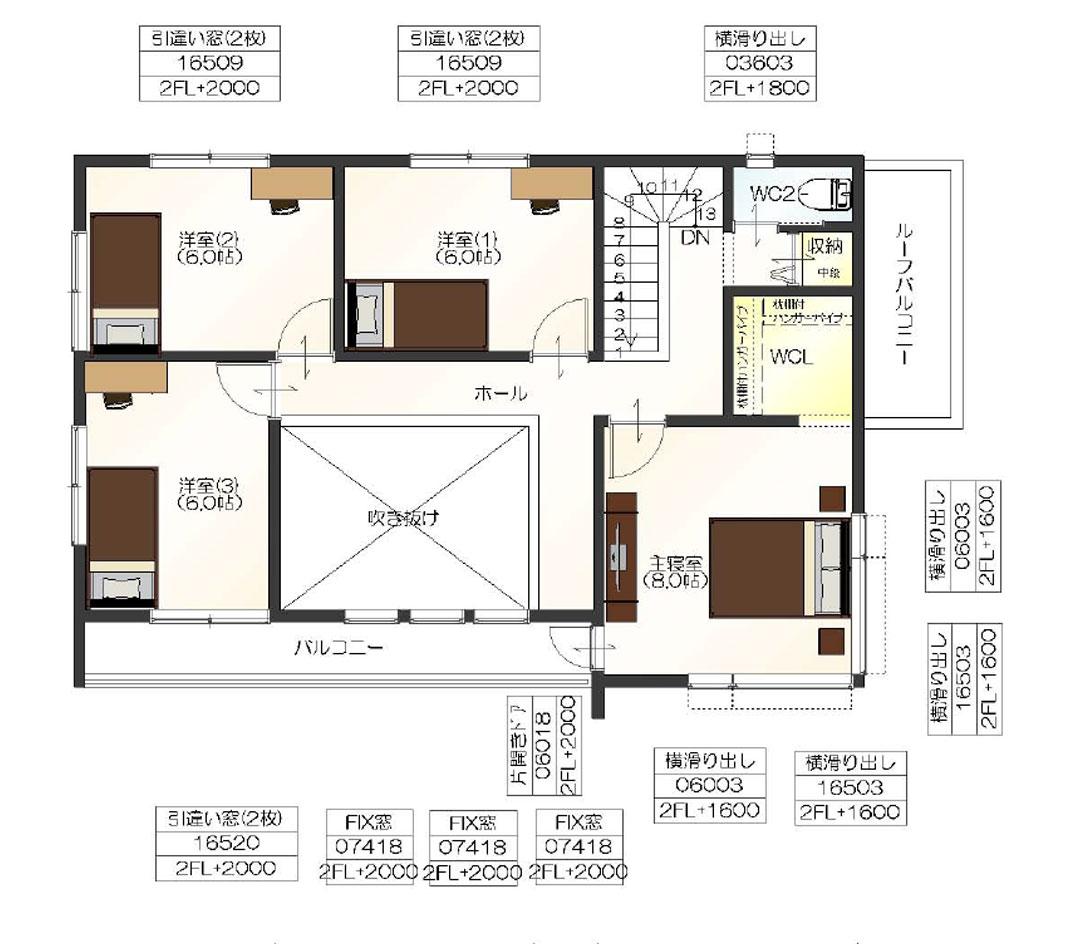 注文住宅ご提案プラン例6 2階間取り図(平面図)